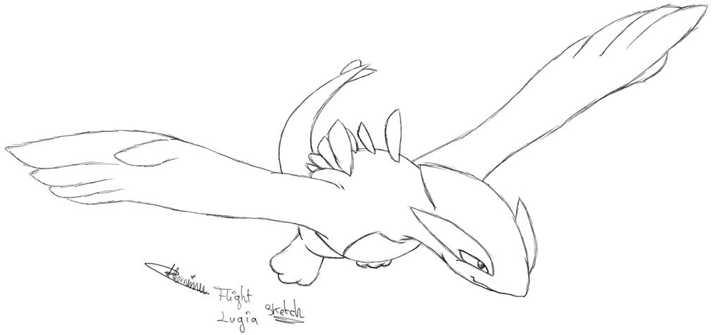 1024x475 Flight Lugia Sketch By Enderdragonne
