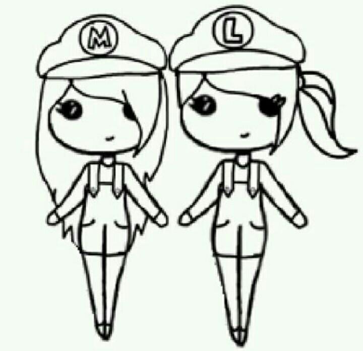 720x697 Girl Mario And Girl Luigi Drawings Luigi, Girls