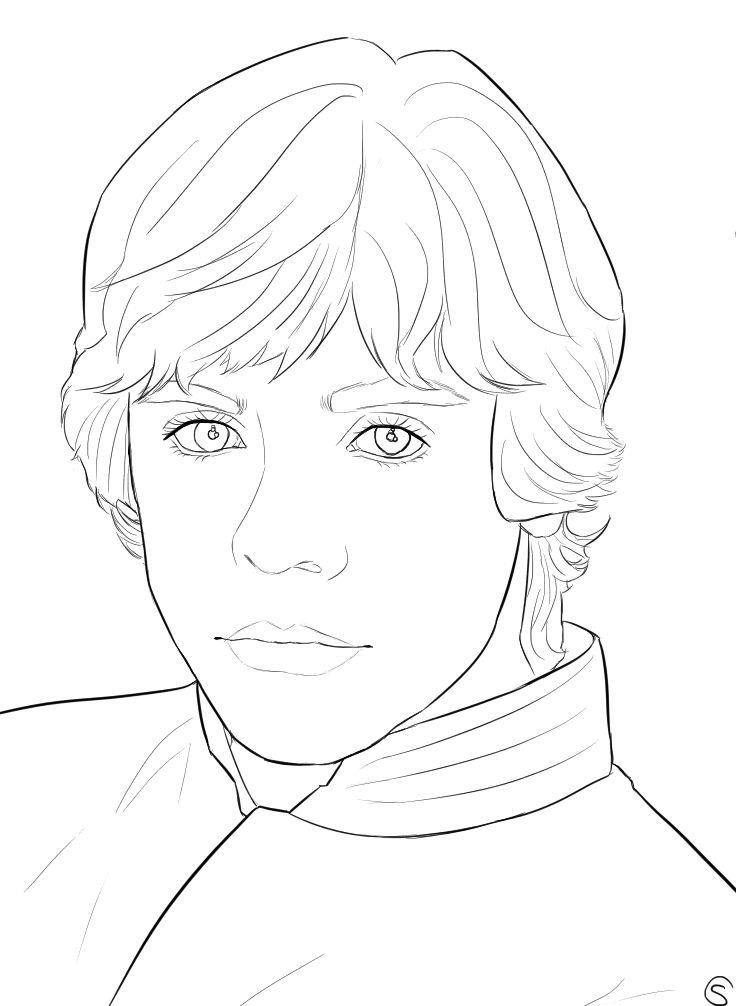 736x1006 Luke Skywalker Outline By Franceloveschu