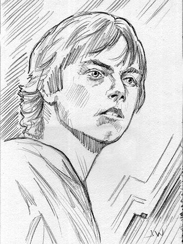 375x500 Luke Skywalker Sketch Card By Stungeon