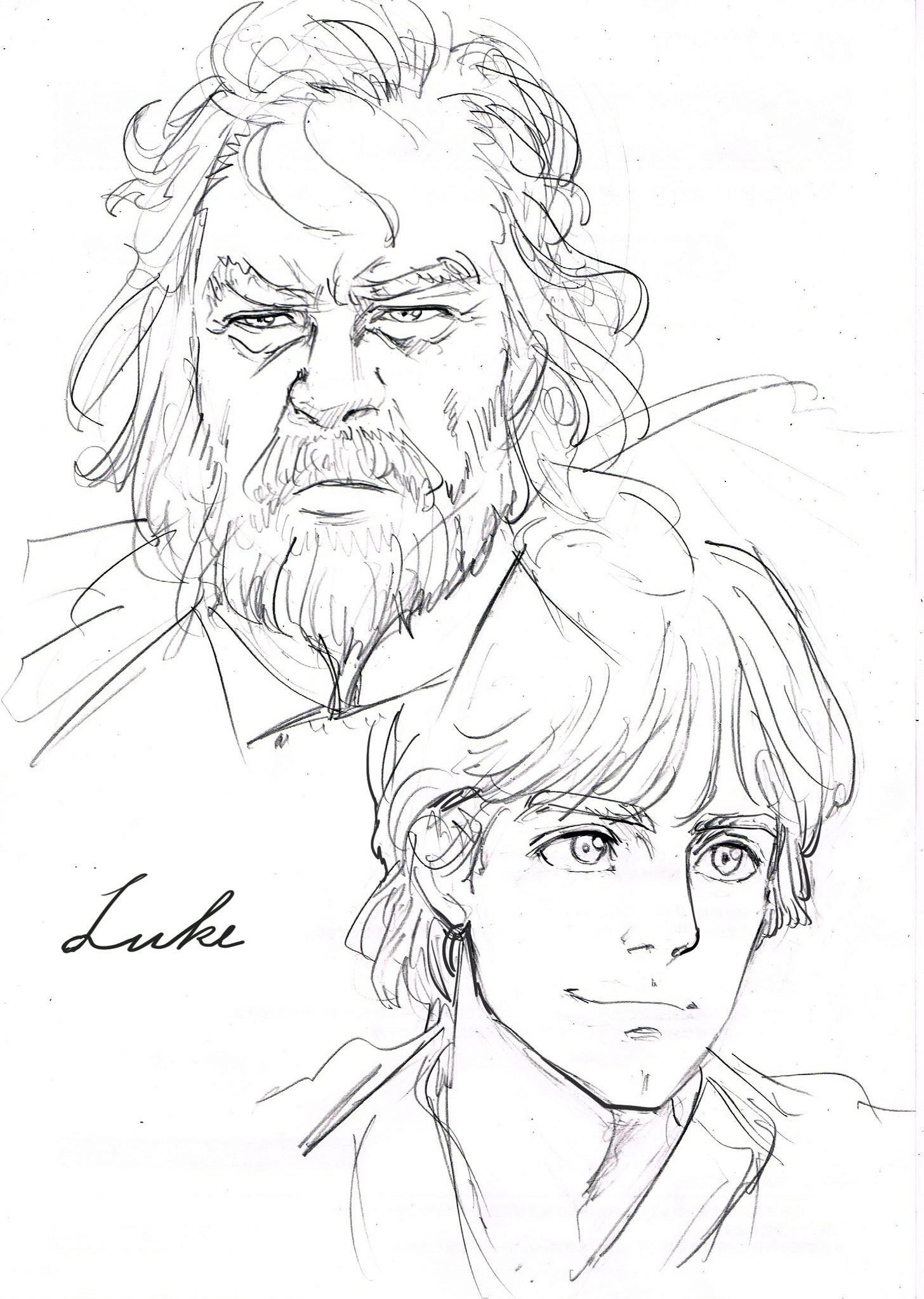 1456x2048 Luke Skywalker Sketch By One Punch Man's Yusuke Murata Starwars