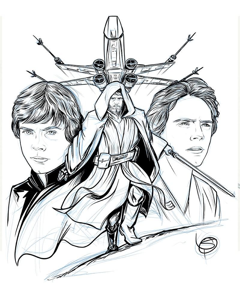 800x1000 Star Wars Vii Luke Skywalker Patrick Scullin Illustration