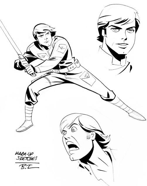 501x632 Luke Skywalker, Warm Up Sketches By Bruce Timm