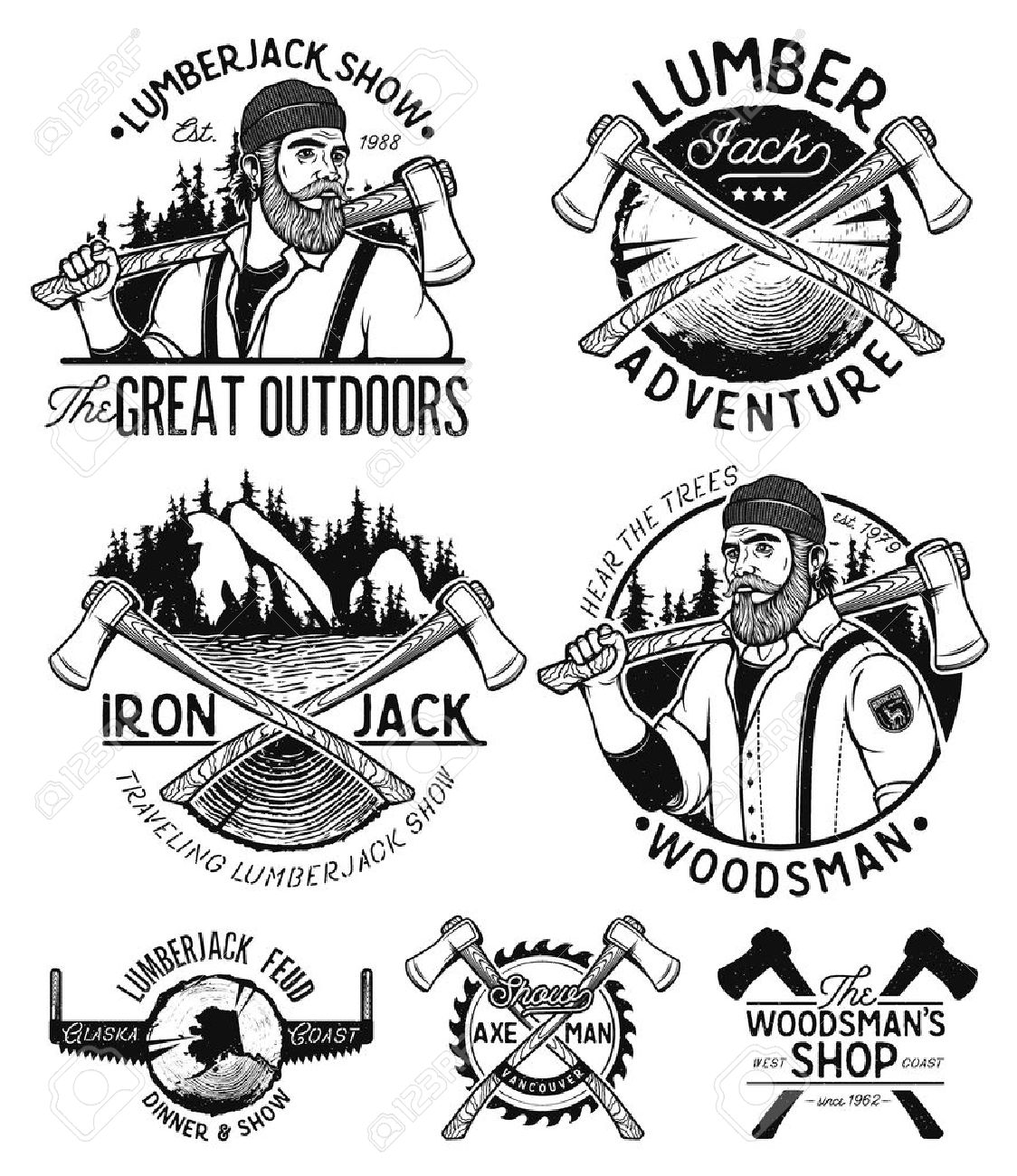 1124x1300 Lumberjack Template. Lumberjack Mascot Holding The Axe. Vintage