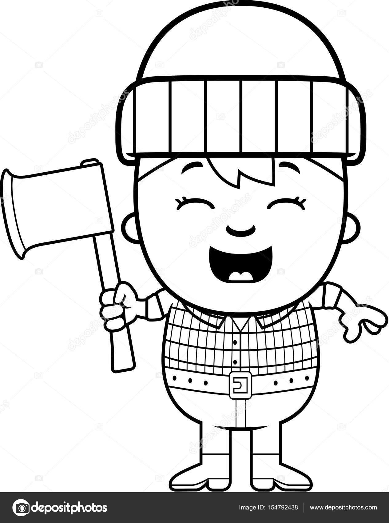 1265x1700 Cartoon Little Lumberjack Axe Stock Vector Cthoman