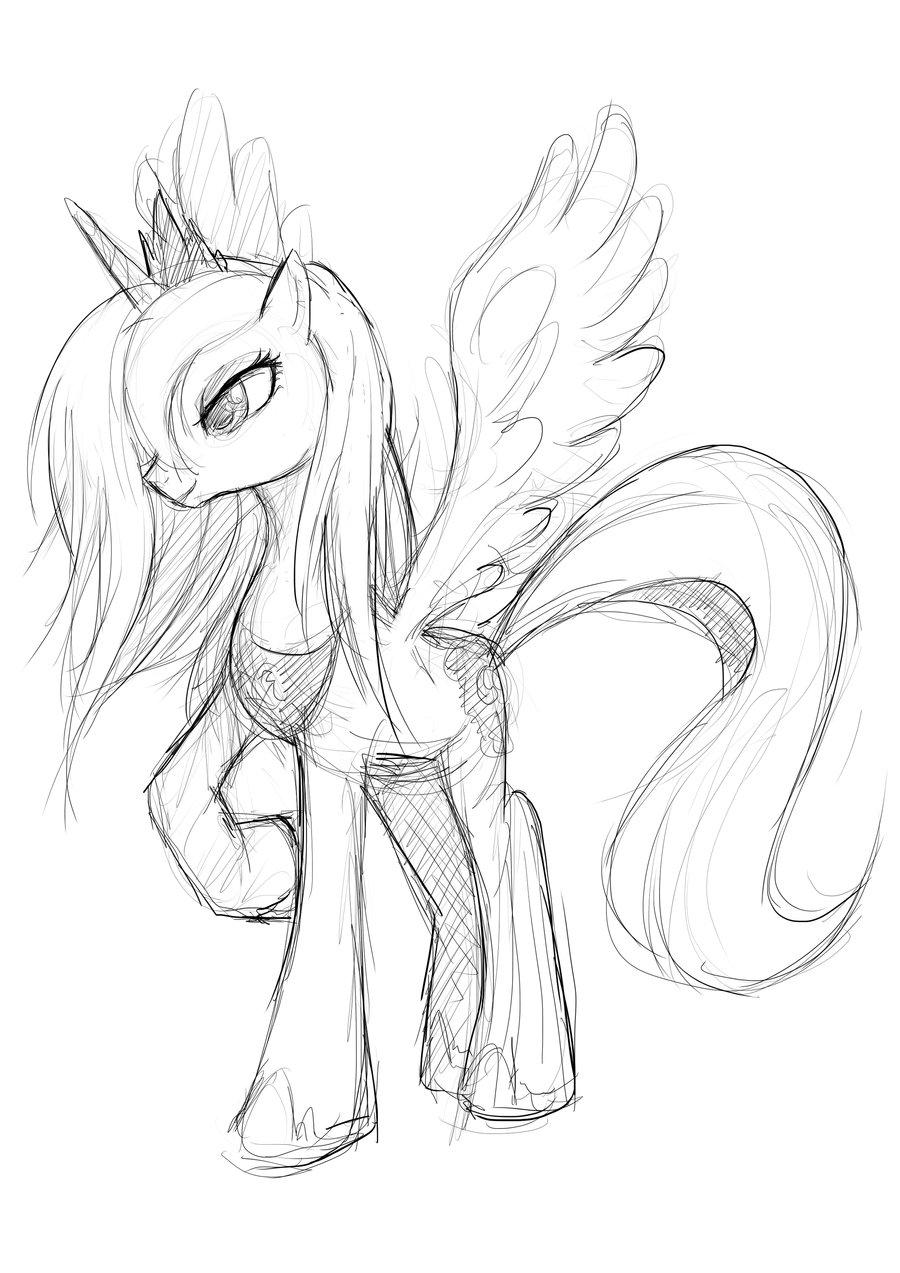 900x1273 Princess Luna Sketch By Moxie2d