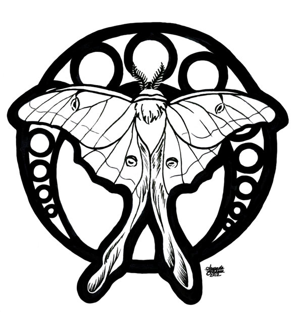 600x619 Luna Moth Nouveau By M Everham