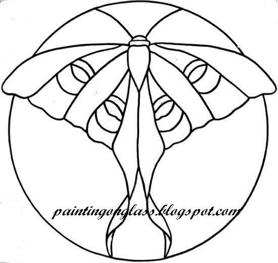 550x521 Luna Moth Stained Glass Pattern