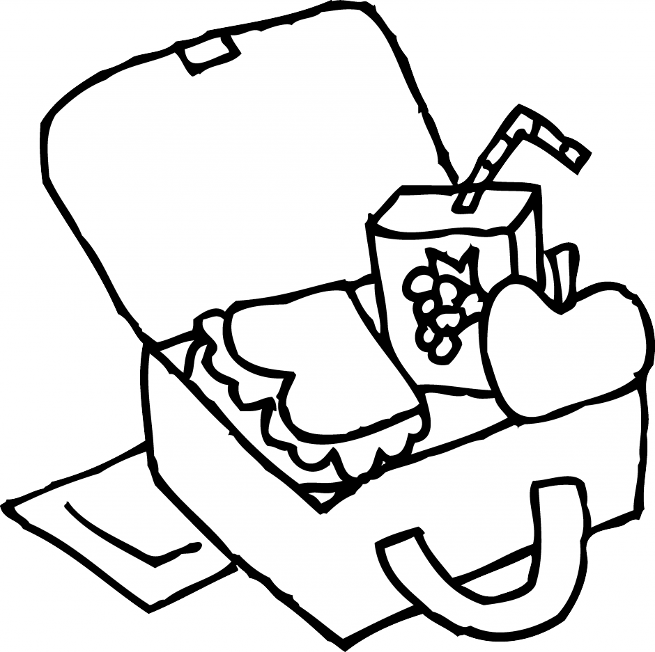 940x937 Lunch Bag Clipart Black And White