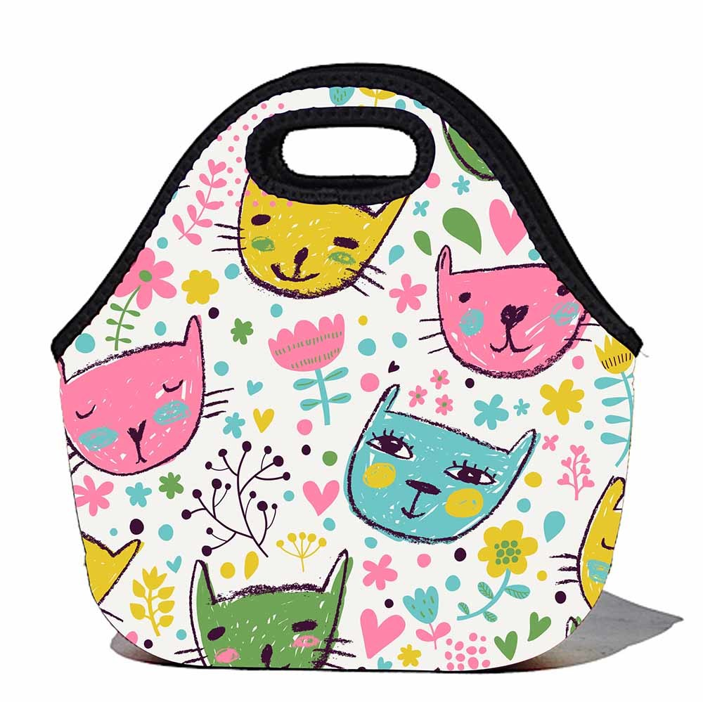 1000x999 Bbbyo Kids Neoprene Lunch Bag Cats Flora Amp Fauna