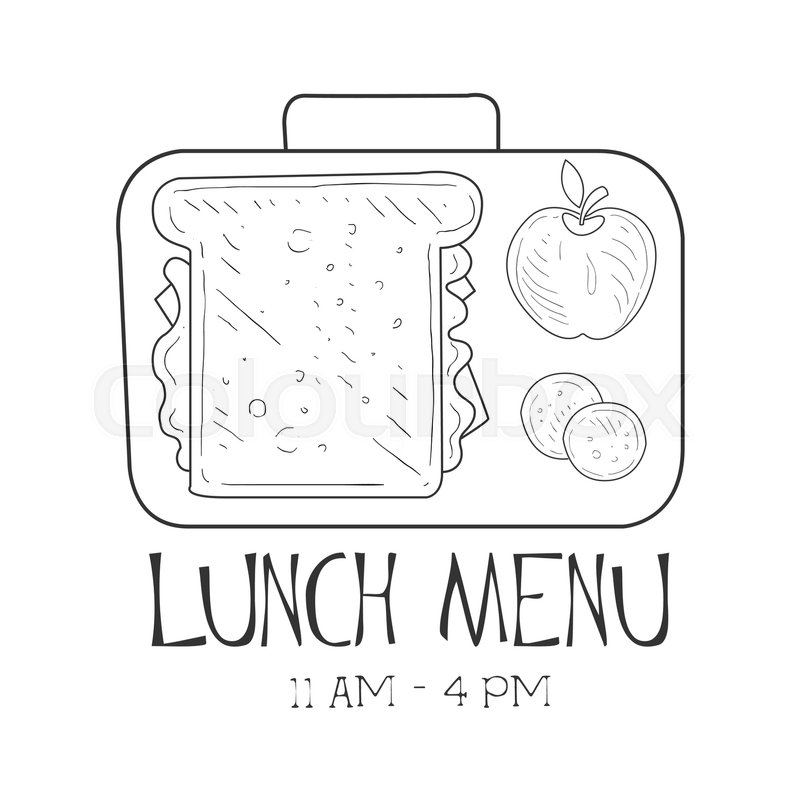 800x800 School Lunchbox Cafe Lunch Menu Promo Sign In Sketch Style, Design