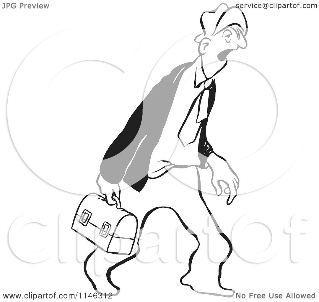 1080x1024 Cartoon Of A Black And White Tired Businessman Carrying A Lunch