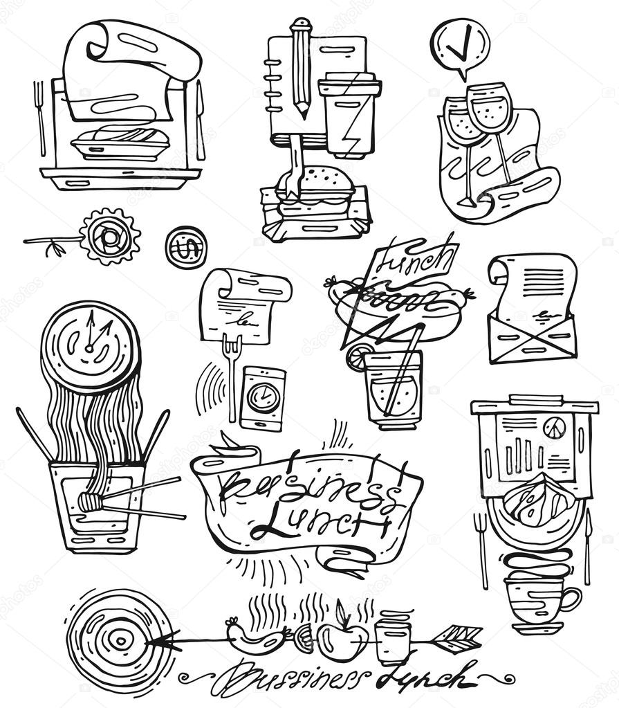 895x1023 Hand Draw Vector Icons Set Of Business Lunch In Sketch Line Style