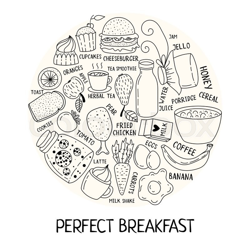 800x800 Hand Drawn Breakfast Food And Icons Doodle Set. School Lunch Menu