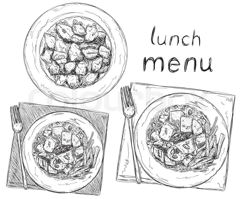 800x657 Hand Drawn Business Lunch Menu. Salads Sketch. Stock Vector