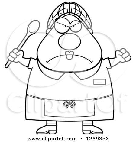450x470 Clipart Of A Black And White Cartoon Chubby Mad Lunch Lady Holding