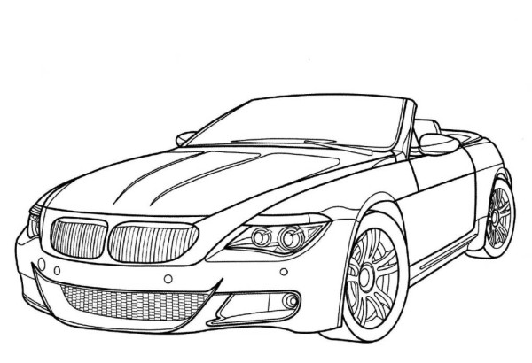 600x410 Print BMW M6 Luxury Car Coloring Page Download