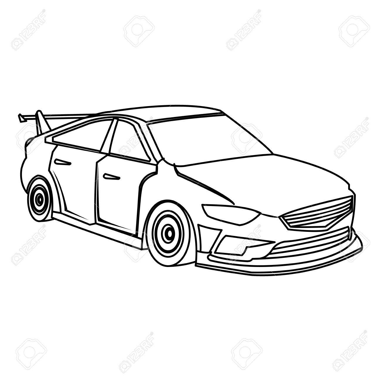 1300x1300 Sport Car Luxury Speed Vehicle Outline Vector Illustration Royalty
