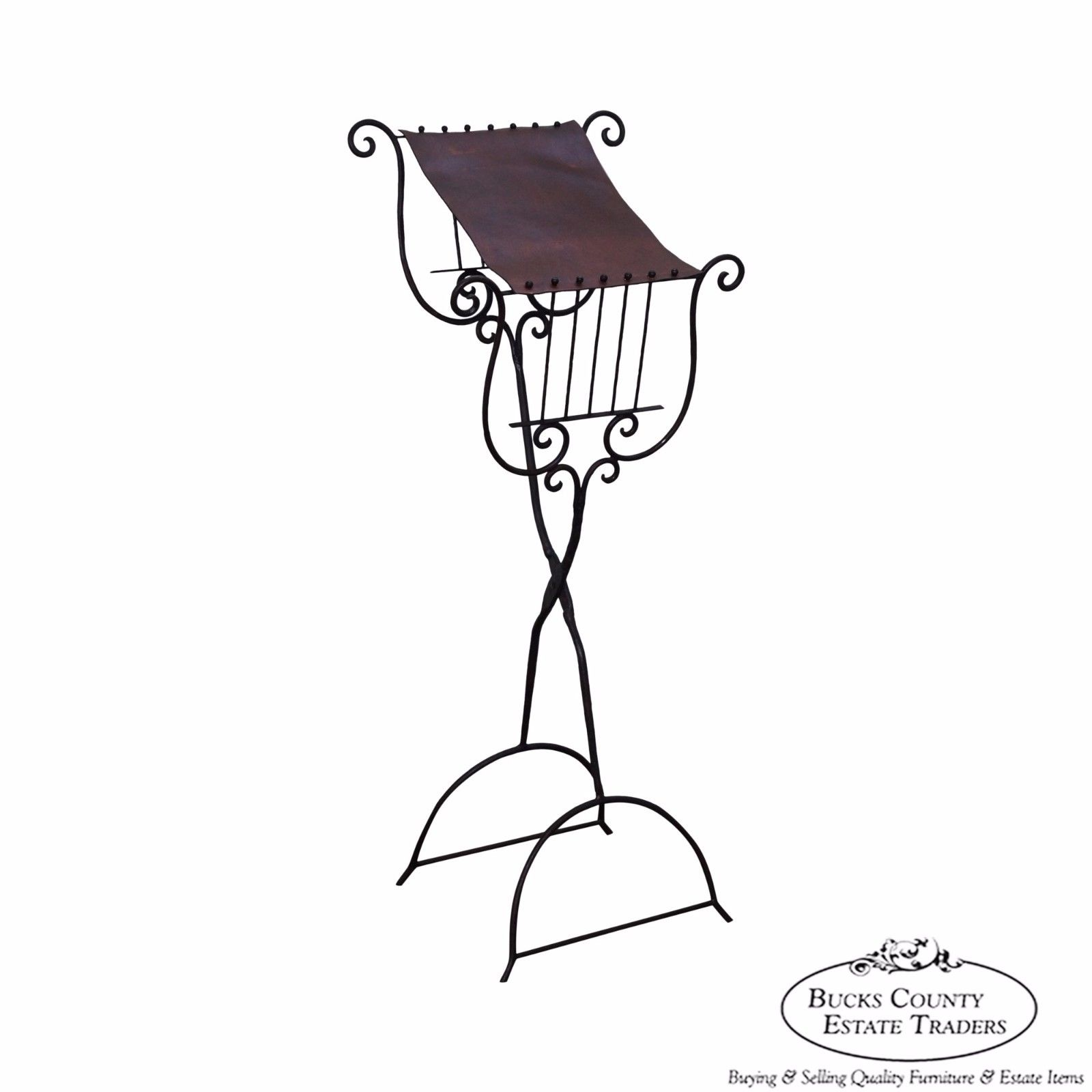 1600x1600 High Quality Hand Wrought Iron Amp Leather Lyre Music Stand
