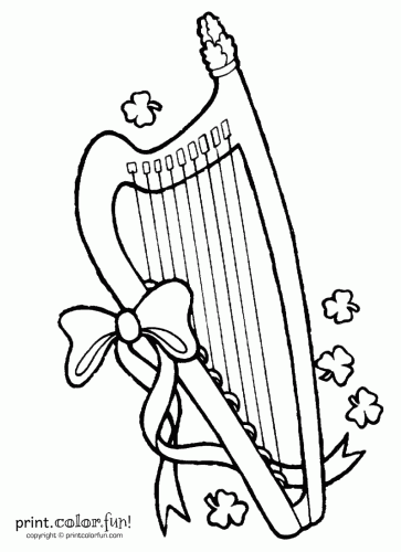 363x500 St Patrick's Day Lyre Coloring Page