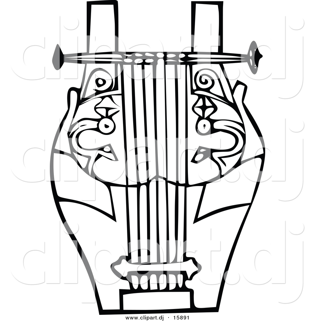 1024x1044 Vector Clipart Of A Lyre Instrument