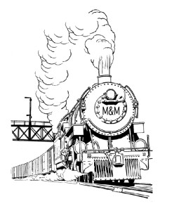 245x300 Mampm Railroad Steam Train Coloring Page