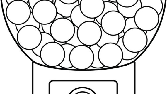 570x320 Bubble Gum Machine Drawing Gumball Machine Coloring Page Picture I