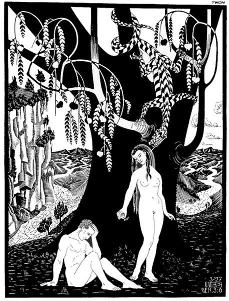 458x600 The Fall Of Man, 1927 By M.c. Escher. Surrealism. Religious