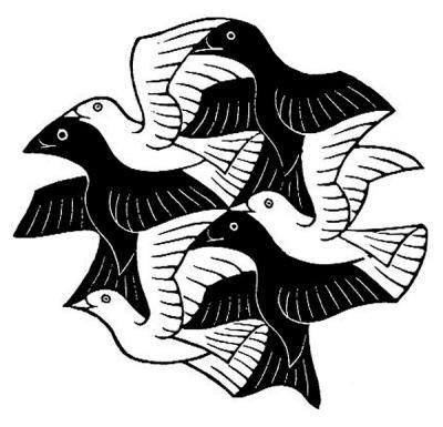 400x385 Birds Dutch Artist Max Escher Escher's Distinctive Style Is