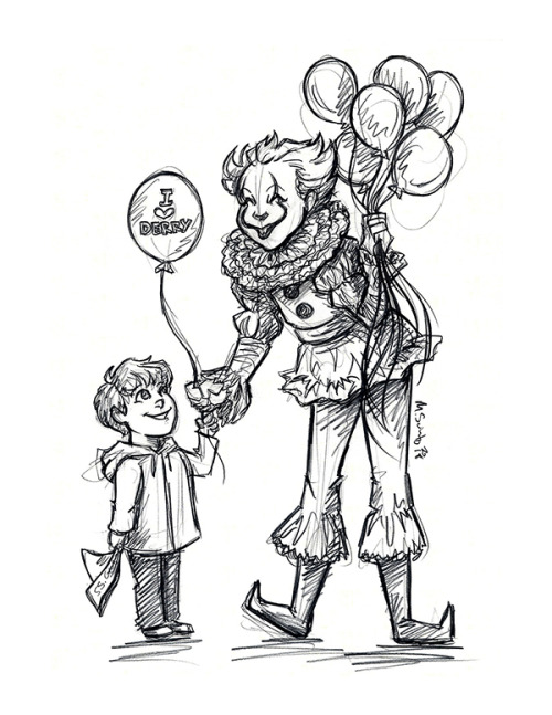 500x647 Illustrations By M. Sciuto Georgie And A Friendly Clown Sketch