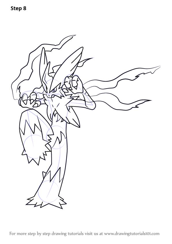 596x843 Learn How To Draw Mega Blaziken From Pokemon (Pokemon) Step By