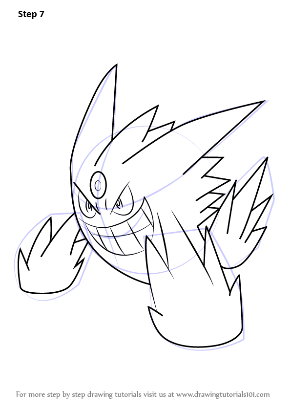 596x843 Learn How To Draw Mega Gengar From Pokemon (Pokemon) Step By Step