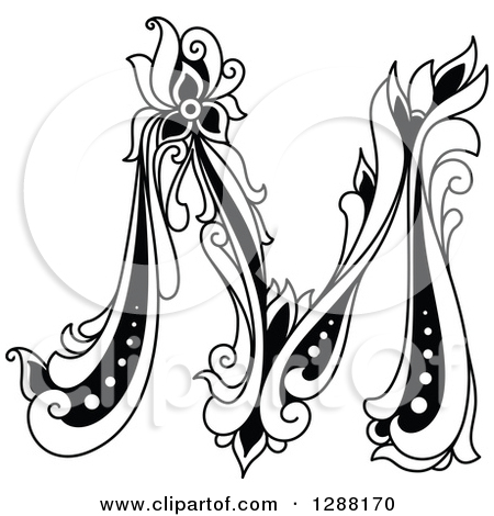 450x470 Black And White Vintage Floral Capital Letter M Posters, Art