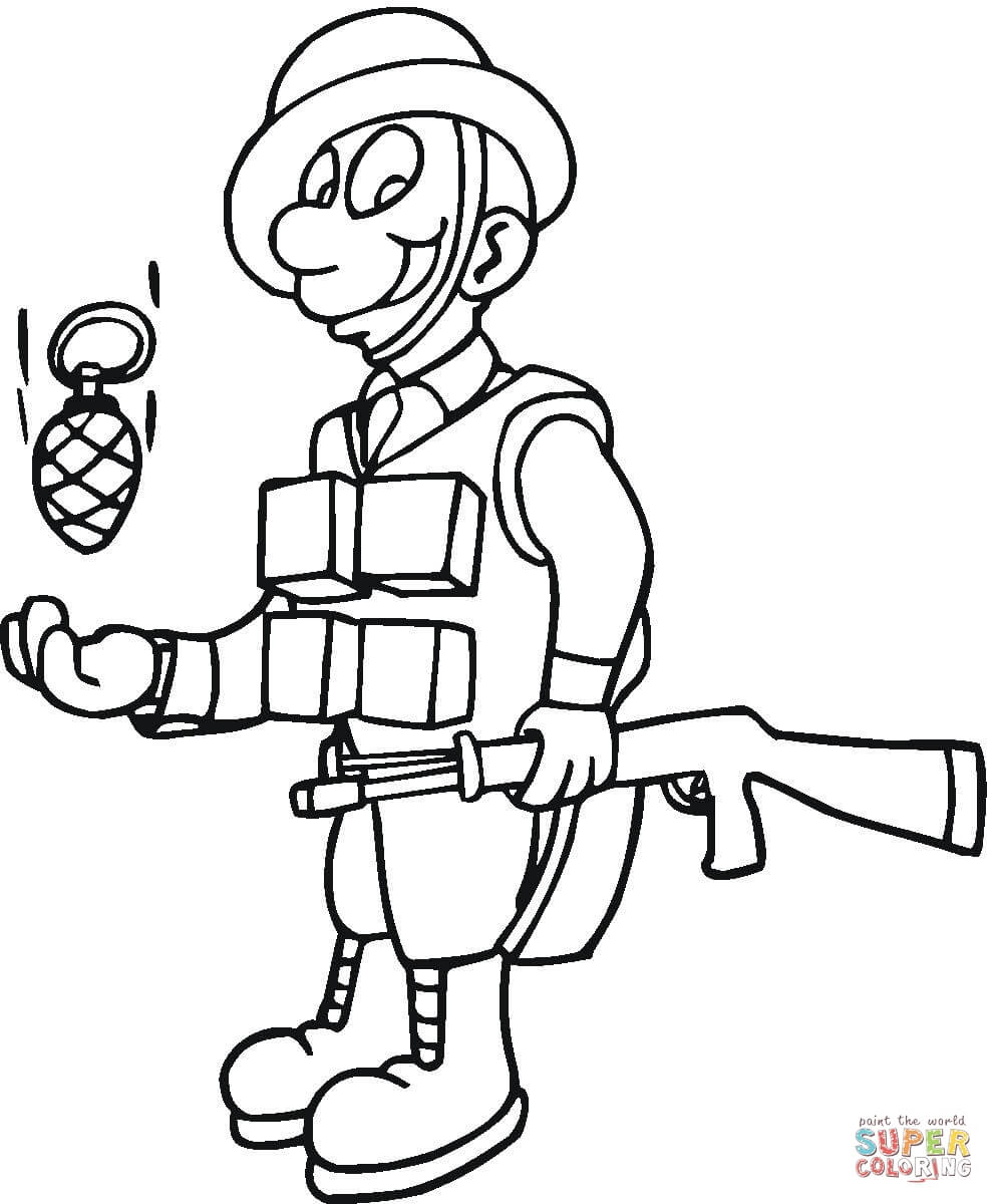 991x1200 Soldier With M16 Coloring Page Free Printable Coloring Pages