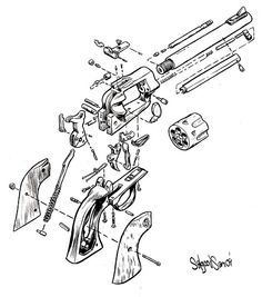 236x267 Ia Drawing Of A Exploded View Of A Sw Revolver, Done As Cover Art