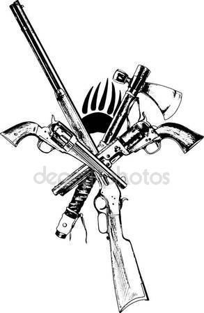 293x449 Crossed Fire Ax And M4 Rifle Dog Tags Tattoo Stock Photo