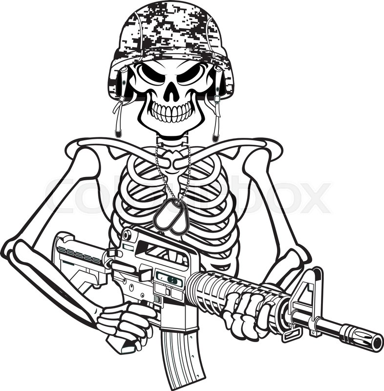 786x800 Skeleton Wearing Military Helmet, Night Vision Goggles And Holding