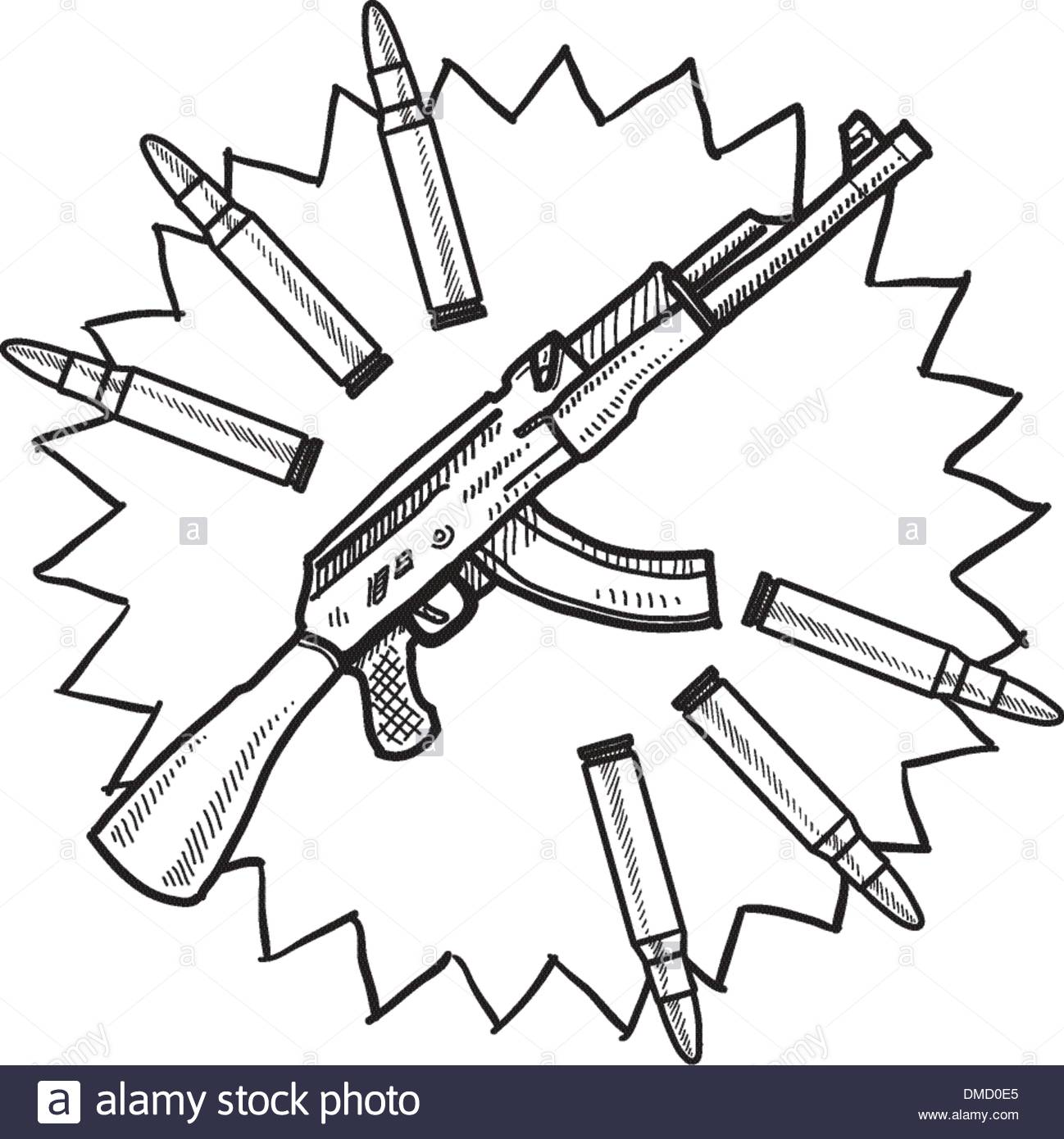 1298x1390 Assault Rifle Sketch Stock Vector Art Amp Illustration, Vector Image