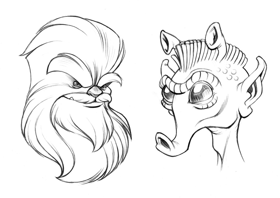 900x638 Wookie And Rodian Sketches By D On @