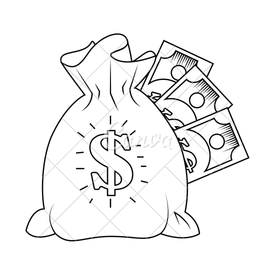 550x550 Money Bag With Cash Vector Icon Illustration