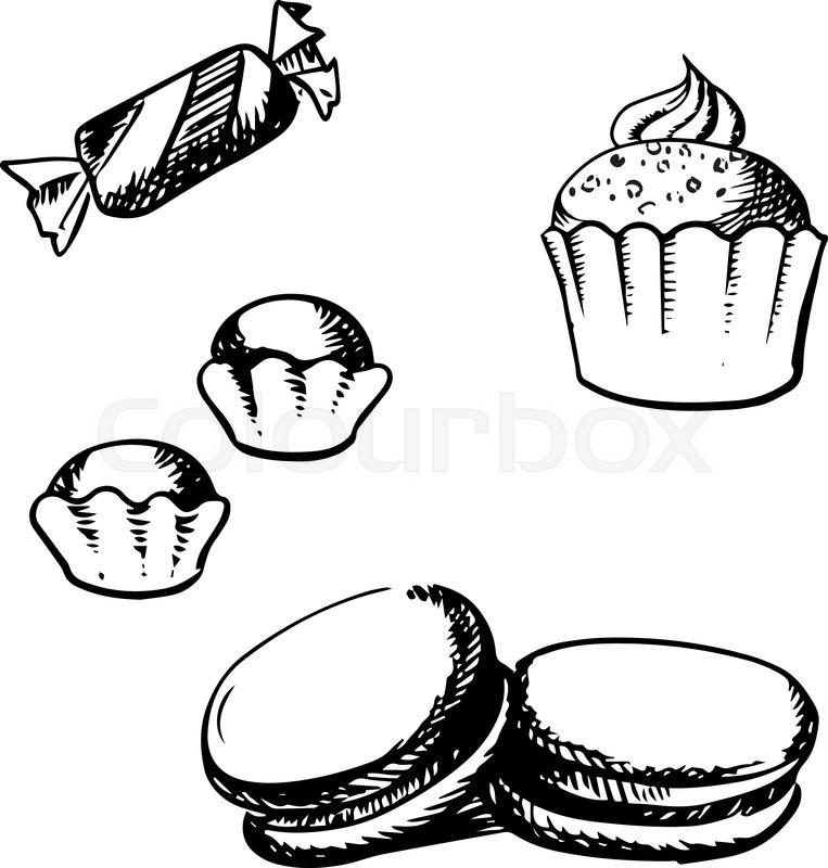 763x800 Sweet Cupcake With Whipped Cream, Macaron With Vanilla Cream