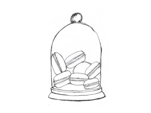 500x375 Macaron Sketch In A Glass Dome Macaron Art Glass