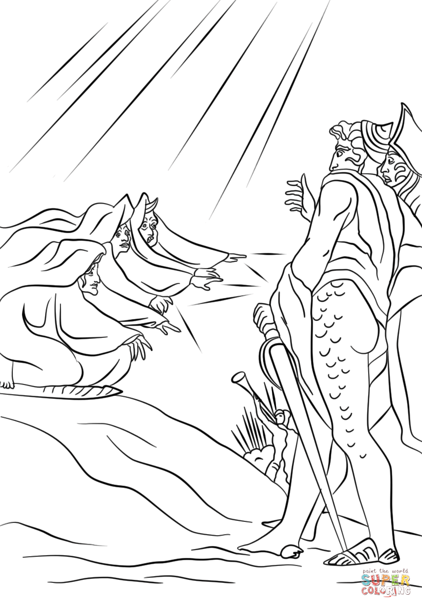 824x1186 Macbeth And Banquo Meet The Three Witches On A Heath Coloring Page