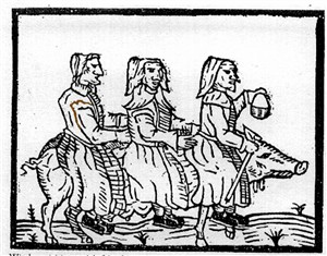 300x235 Three Witches Ride Upon A Pig Like Familiar To Visit An Ill Friend