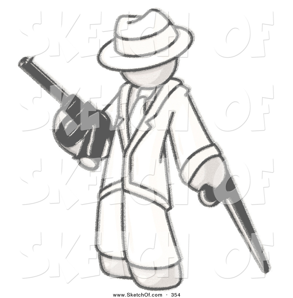 1024x1044 Drawing Of A Sketched Design Mascot Gangster Man In White Clothes