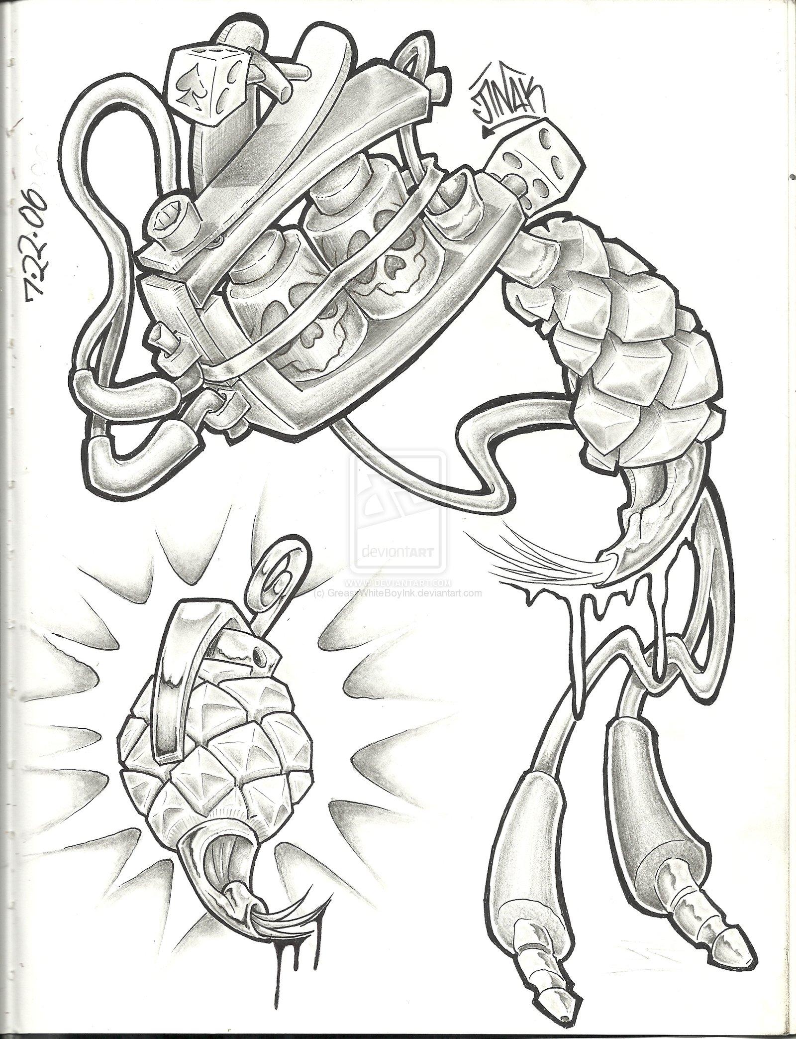 cool tattoo gun drawing