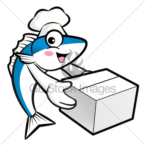 500x500 Mackerel Fish Character Is Holding A Delivery Box. Gl Stock Images