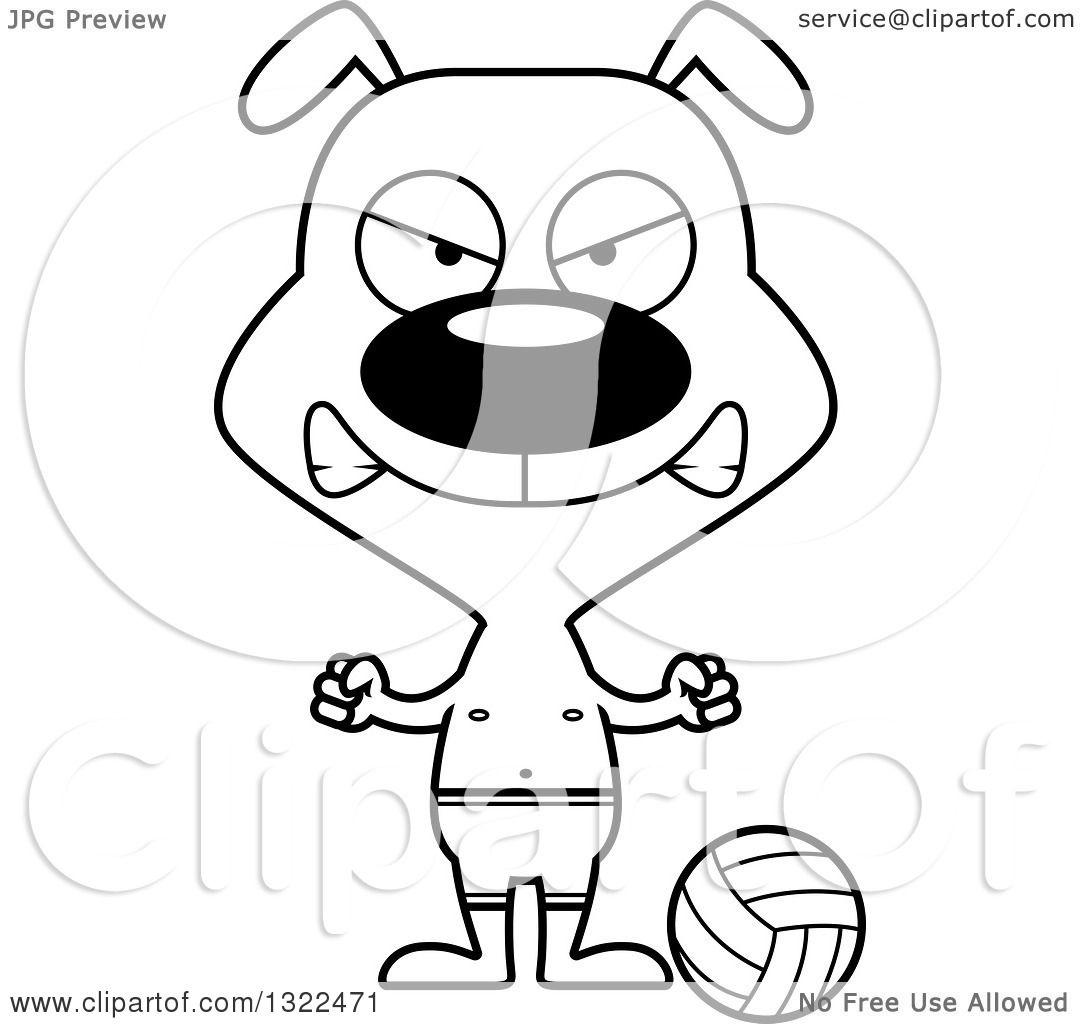 1080x1024 Lineart Clipart Of A Cartoon Black And White Mad Dog Beach