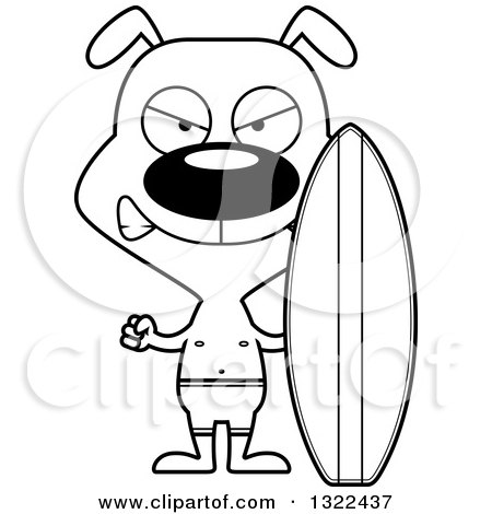 450x470 Lineart Clipart Of A Cartoon Black And White Mad Dog Surfer
