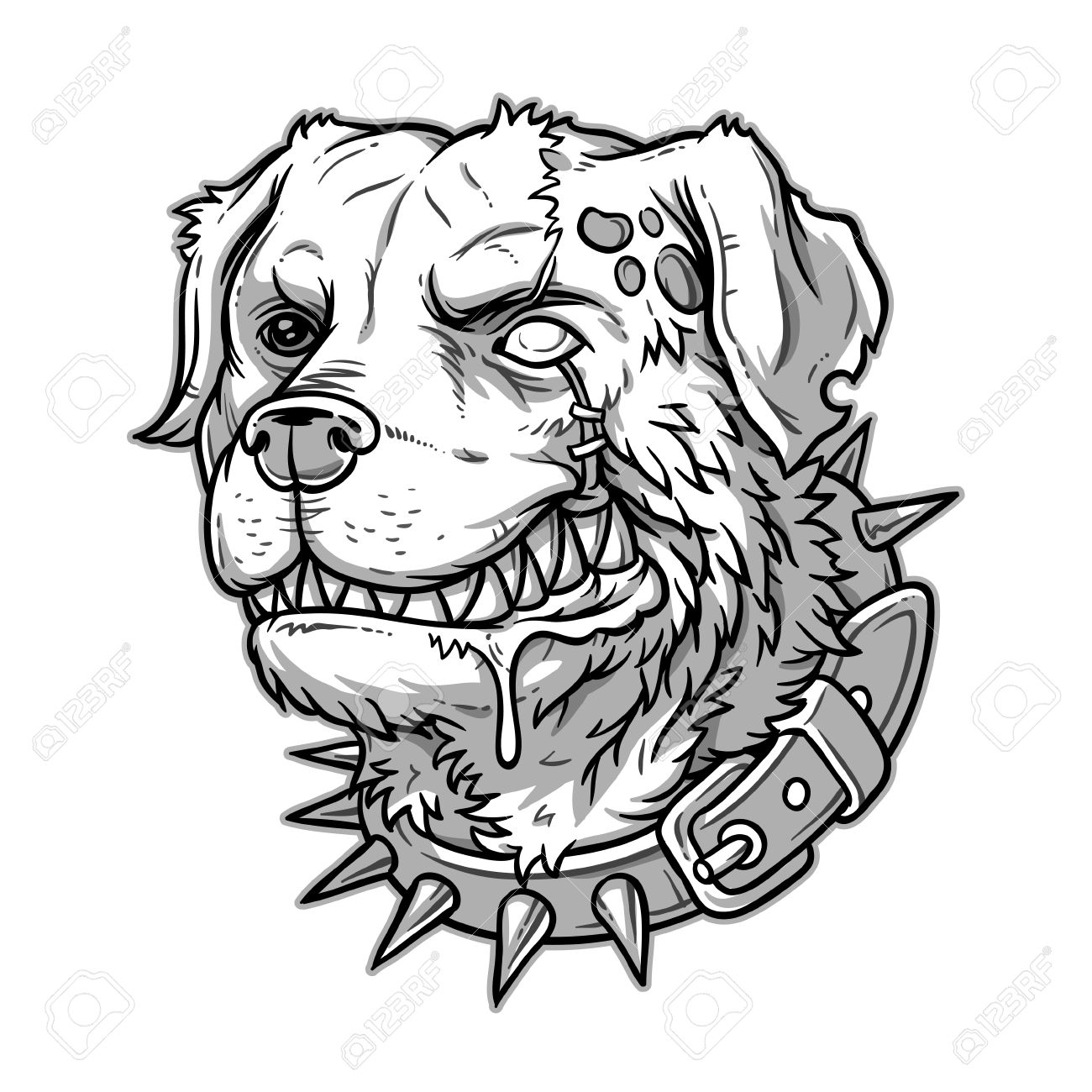 1300x1300 Vector Illustration Of Evil Mad Dog Grinning Teeth Royalty Free